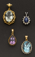 Estate Jewelry:Pendants and Lockets, Four Synthetic Stone Gold Pendants. ... (Total: 4 Items)
