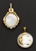 Estate Jewelry:Pendants and Lockets, Two Mother Of Pearl Gold Pendants. ... (Total: 2 Items)