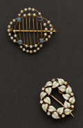 Estate Jewelry:Brooches - Pins, Two Gold Estate Pins. ... (Total: 2 Items)