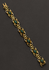 Estate Green Agate & Gold Bracelet
