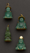 Estate Jewelry:Pendants and Lockets, Four Buddha Jade Pins. ... (Total: 4 Items)
