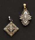 Estate Jewelry:Pendants and Lockets, Two Early Diamond & Gold Pendants. ... (Total: 2 Items)
