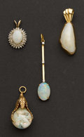 Estate Jewelry:Pendants and Lockets, Four Gold Opal Pendants. ... (Total: 4 Items)