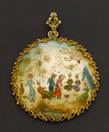 Estate Jewelry:Pendants and Lockets, Painted Mother Of Pearl 18k Gold Pendant. ...