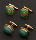 Estate Jewelry:Cufflinks, Two Pair Of Jade & Gold Cufflinks. ...