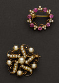 Estate Jewelry:Brooches - Pins, Estate Pearl & Pink Tourmaline Gold Pins. ... (Total: 2 Items)