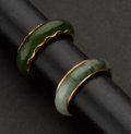 Estate Jewelry:Rings, Two Estate Gold Jade Rings. ... (Total: 2 Items)