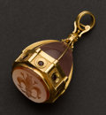 Estate Jewelry:Pendants and Lockets, Early 18k Gold Carnelian Intaglio & Garnet Pendant. ...