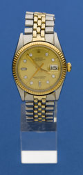 Timepieces:Wristwatch, Rolex Ref. 1601 Two Tone Gent's Datejust With Diamond Dial, circa 1972. ...