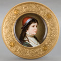 Ceramics & Porcelain, A CONTINENTAL PORCELAIN PLATE IN GILT BRONZE FRAME: PORTRAIT OF A YOUNG WOMAN . 20th century. Marks to bronze: ...