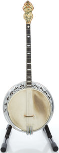 Musical Instruments:Banjos, Mandolins, & Ukes, 1920's Bacon & Day Silver Bell Sunburst Tenor Banjo, Serial #7923....