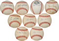 Baseball Collectibles:Balls, Baseball Stars Single Signed Baseballs Lot of 9....