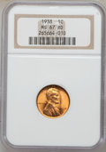 Lincoln Cents: , 1938 1C MS67 Red NGC. NGC Census: (1044/0). PCGS Population(258/0). Mintage: 156,696,736. Numismedia Wsl. Price for proble...
