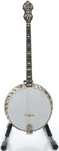 Musical Instruments:Banjos, Mandolins, & Ukes, 1920's Bacon & Day Silver Bell No. 1 Brown Stain Tenor Banjo,Serial # 18854....