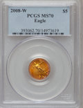 Modern Bullion Coins, 2008-W $5 Gold Eagle MS70 PCGS. PCGS Population (287). NGC Census:(0). (#393062)...