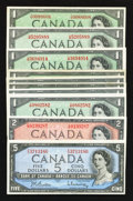 Canadian Currency: , 1954 Modified Portrait Notes.. ... (Total: 10 notes)
