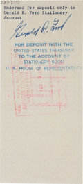 """Autographs:U.S. Presidents, Gerald R. Ford Check Endorsed """"Gerald R. Ford.""""..."""
