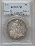 Seated Dollars: , 1845 $1 XF45 PCGS. PCGS Population (43/100). NGC Census: (22/91).Mintage: 24,500. Numismedia Wsl. Price for problem free N...