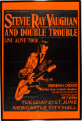 Music Memorabilia:Posters, Stevie Ray Vaughan and Double Trouble Signed English Concert Poster (Camouflage, 1988)....