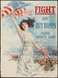 "World War I Howard Chandler Christy Poster (Forbes, 1917). Propaganda Poster (30"" X 40""). ""Fight or Buy B..."