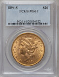 Liberty Double Eagles: , 1894-S $20 MS61 PCGS. PCGS Population (986/2226). NGC Census: (1999/2354). Mintage: 1,048,550. Numismedia Wsl. Price for pr...