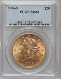 Liberty Double Eagles: , 1906-S $20 MS61 PCGS. PCGS Population (636/2973). NGC Census:(1310/2476). Mintage: 2,065,750. Numismedia Wsl. Price for pr...