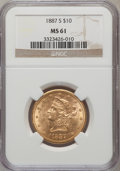 Liberty Eagles: , 1887-S $10 MS61 NGC. NGC Census: (506/544). PCGS Population(353/346). Mintage: 817,000. Numismedia Wsl. Price for problem ...