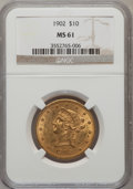 Liberty Eagles: , 1902 $10 MS61 NGC. NGC Census: (229/336). PCGS Population(133/286). Mintage: 82,400. Numismedia Wsl. Price for problemfre...