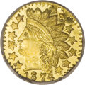 California Fractional Gold: , 1874 25C Indian Octagonal 25 Cents, BG-799Q, High R.5, MS67 DeepMirror Prooflike NGC. Attributed by a widely repunched thi...