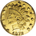 California Fractional Gold: , 1872/1 25C Indian Round 25 Cents, BG-869, Low R.4, MS66 ProoflikeNGC. Prominently mirrored fields combine with partly fros...