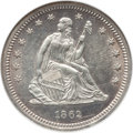 Seated Quarters: , 1862 25C MS62 NGC. NGC Census: (13/79). PCGS Population (20/92).Mintage: 932,000. Numismedia Wsl. Price for problem free N...
