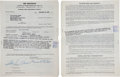 """Movie/TV Memorabilia:Memorabilia, A Marilyn Monroe Signed and Twice-Initialed Contract for """"The JackBenny Show.""""..."""