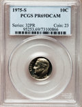 Proof Roosevelt Dimes: , 1975-S 10C PR69 Deep Cameo PCGS. PCGS Population (3586/28). NGCCensus: (38/0). Numismedia Wsl. Price for problem free NGC...