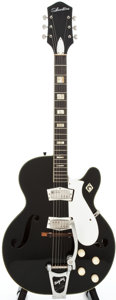 Musical Instruments:Electric Guitars, Circa 1960's Silvertone 1446 Black Semi-Hollow Body ElectricGuitar....