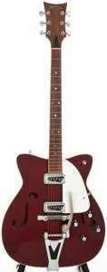 Musical Instruments:Electric Guitars, Circa: Mid 1960's Martin GT-75 Burgundy Semi-Hollow Body ElectricGuitar....