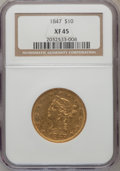 Liberty Eagles: , 1847 $10 XF45 NGC. NGC Census: (173/604). PCGS Population(128/208). Mintage: 862,258. Numismedia Wsl. Price for problemfr...