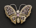 Estate Jewelry:Brooches - Pins, Superb Amethyst Gold Butterfly Pin. ...