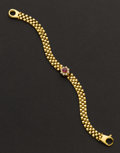 Estate Jewelry:Bracelets, Fine 18k Gold Diamond & Ruby Bracelet. ...