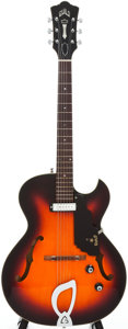 Musical Instruments:Electric Guitars, 1967 Guild T-100 Sunburst Semi-Hollow Body Electric Guitar, Serial# EE 2721....