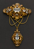 Estate Jewelry:Brooches - Pins, Early Victorian Gold & Aquamarine Brooch. ...