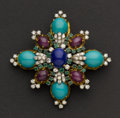 Estate Jewelry:Brooches - Pins, Exceptional Diamond, Emerald, Ruby, Lapis & Turquoise Pendant/Brooch By J.G.Jlry (Jack Gutschneider, NYC), circa 1960's. ...