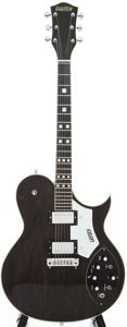 Musical Instruments:Electric Guitars, 1976 Gretsch Super Axe/7681 Ebony Semi-Hollow Body Electric Guitar,#6-8156....