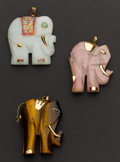 Estate Jewelry:Pendants and Lockets, Pink Quartz, Tiger Eye & Green Jade Elephant Pendants. ...(Total: 3 Items)