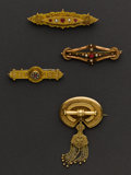 Estate Jewelry:Brooches - Pins, Four Early Gold Pins. ... (Total: 4 Items)