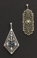Estate Jewelry:Pendants and Lockets, Two Early White Gold Pendants. ... (Total: 2 Items)