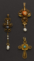 Estate Jewelry:Pendants and Lockets, Three Exquisite Early Gold Drops. ... (Total: 3 Items)