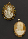 Estate Jewelry:Cameos, Two Fine Shell & Gold Cameos. ... (Total: 2 Items)