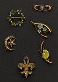 Estate Jewelry:Brooches - Pins, Six Early Gold Pins. ... (Total: 6 Items)