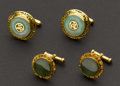 Estate Jewelry:Cufflinks, Two Jade & Gold Cufflinks. ... (Total: 2 Items)