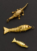 Estate Jewelry:Other , Two Fish & One Crocodile Gold Charms. ... (Total: 3 Items)